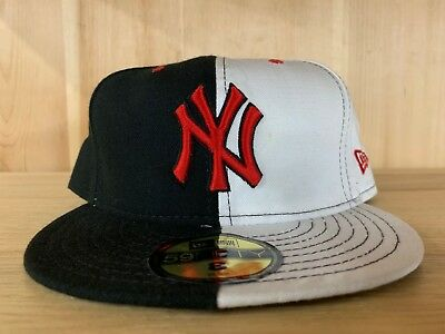 Vintage New Era New York Yankees Fitted Hat Cap Black White Red 59Fifty  Size 8 732de00955f7