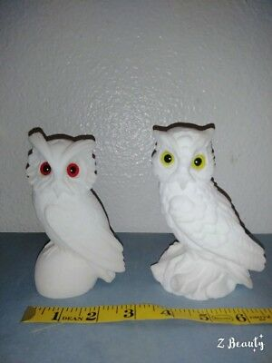 Pair Of White Horned Owl Figurines Porcelain Bisque & Yellow/red Marble Eyes