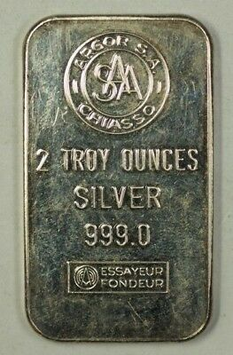 Stamped Silver Ingot 2 T.Oz .999 Pure Bar Argor South Africa Chiasso