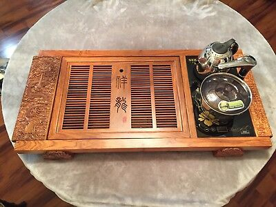 High quality Chinese wood tea tray dragon handmade carved tables