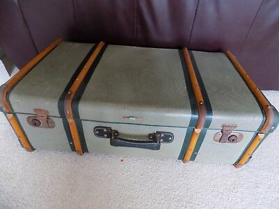 "ANTIQUE VINTAGE LARGE STEAMER TRUNK WOOD BOUND GERMAN - ZWEIMANN ""Worlds Runner"""