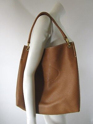 93745404c0ff37 PRADA MADE IN ITALY Brown Soft Textured Leather X Large Shoulder Tote Bag