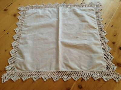 Vintage white embroidered tea tablecloth / table centre with hand crocheted lace