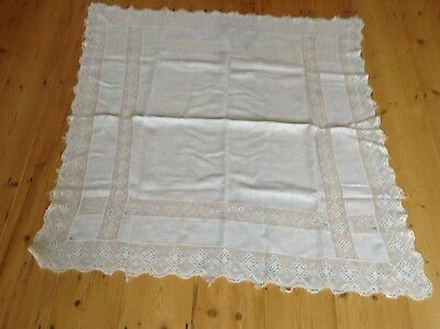 """Vintage lace edged tablecloth 40"""" square"""