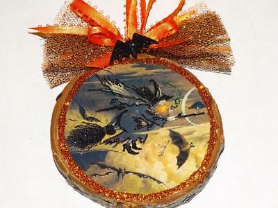 Hand made Creepy Witch Flying wood slice barked Glittered Halloween Ornament