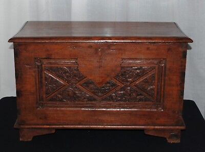 Antique wooden carved trunk chest