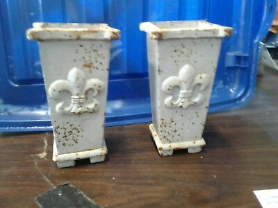 Vintage French Cast Iron Vase Set Fleur Pattern