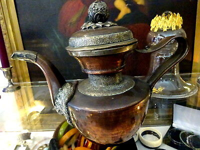 LARGE ANTIQUE 19th CENTURY TIBET TIBETAN COPPER & SILVER GILT? ENGRAVED TEAPOT