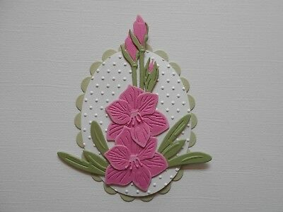 Die cuts - Embossed Hippeastrum - Assembled  Flowers Card Toppers Mats (10)