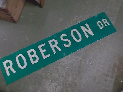 "Vintage Original ROBERSON DR Street Sign 30"" X 9"" ~ White on Green"