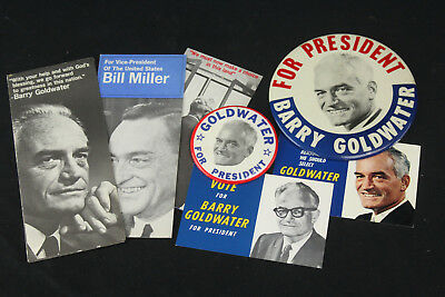 """1964 Barry Goldwater for President Pinback Button Pins x 2 Rare 6"""" Extra Large+"""