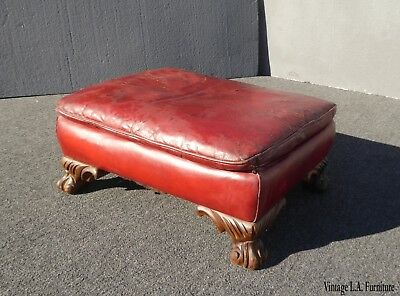 Antique Rustic French Country Red Leather Footstool Bench Farmhouse Chic