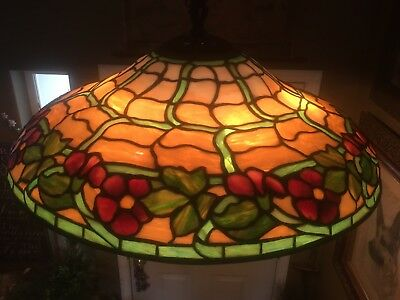 Duffner Kimberly,Leaded,Slag,Stained Glass Shade,Arts Crafts ,Handel Lamp Era.