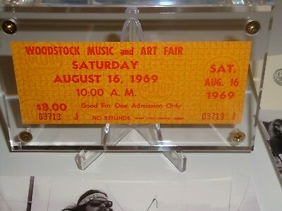 Woodstock 1969 Original Saturday Ticket Lucite Case Jimi Hendrix Janis Joplin