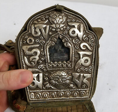 Antique Tibetan Chinese Silverplate Traveling Shrine Buddha Buddhism