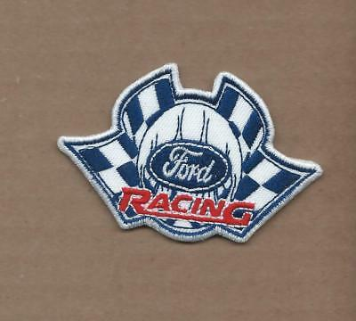New 2 X 3 1/8 Inch Ford Racing W/Flags Iron On Patch Free Shipping