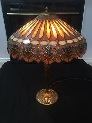 Duffner Kimberly Lamp,Leaded,Slag,Stained Glass Shade,Arts Crafts,Handel Lamp