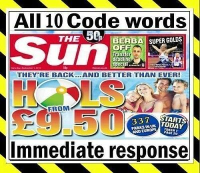 The Sun Holidays Codes £9.50, All 8 Code words online booking for 2019.