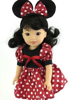 """Minnie Mouse Dress 14"""" Wellie Wishers Doll Clothes Outfit American Girl"""