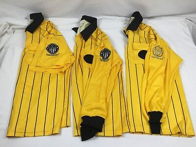 260f1768c6e Lot of 3 Official Sports XL Yellow Old Style Pro Soccer Referee Jersey 2 LS  1