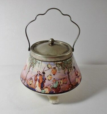 ANTIQUE L & Sons (Lancaster & Sons) BISCUIT JAR Asian Scene w/People & Lanterns