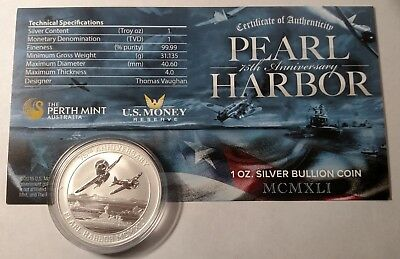 2016 $1 Pearl Harbor Perth Mint 1 oz. Silver 75th Anniversary Coin with COA