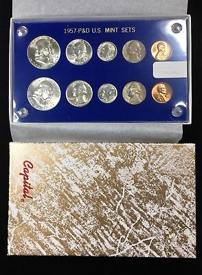 1957 P & D US MINT SET IN CAPITAL PLASTICS HOLDER w BOX - 10-COIN BU SET