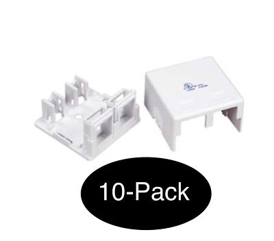 10x Double Hole Surface Mount Keystone Jack Wall Box 2 Port Lot Pack NEW
