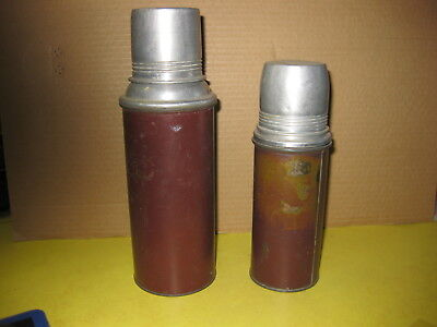 2-Vintage Antique ICY HOT Vacuum Bottles with glass liners
