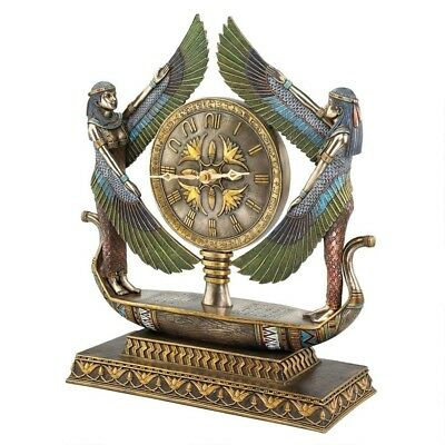 Egyptian Revival Goddess Isis on Barge Sculptural Clock w/ Hieroglyphic Numerals