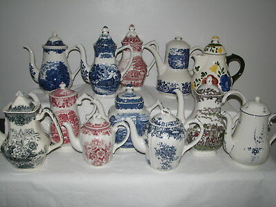 red blue transferware COFFEE POT vintage Myott Royal Mail Coaching Days England