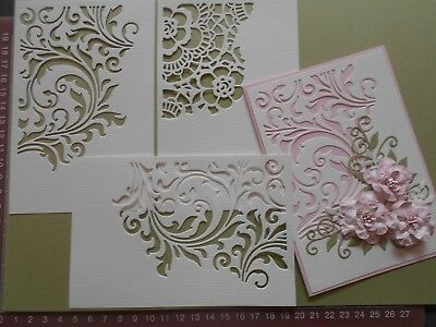 Die cuts - Floral Cut-outs x 3,  Flowers Flourish  10cms x 15 cms