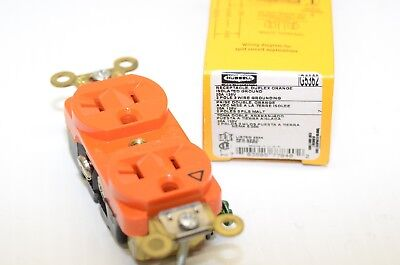 HUBBELL IG5362 Duplex Orange Receptacle 20 amp 125V New in box Isolated Ground