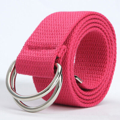 Fashion Men's Unisex Casual Double D-Ring Metal Waist Waistband Canvas Belt SW