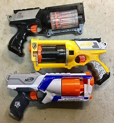 LOT Of Nerf N-Strike Maverick REV-6 & Strongarm ELITE Revolver Dart Gun Blaster