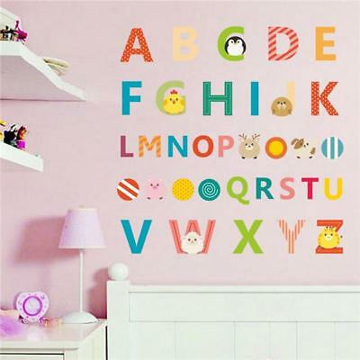 Educational Animals Alphabet Letters A-Z Kid Room Decals Leaning Wall Sticker SW