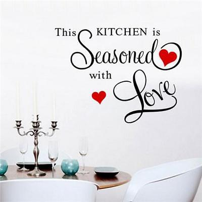 This Kitchen Seasoned With Love, Heart, Family Wall Art Vinyl Decal Sticker Sw