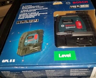 New Bosch GPL 5 S 5-Point Self Leveling Alignment Laser Plumb and Square Level