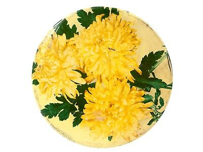 Vintage Yellow Flowers Cookie Tin - Mrs. Stevens, Chicago Bakery Round Metal Con