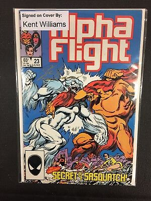 Alpha Flight Marvel Comics Signed/Autographed By Kent Williams Issue#23