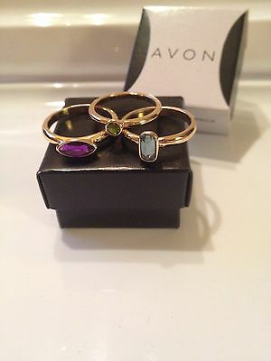 Avon Holiday Party 3 Piece Ring Set Goldtone Size 8 New In Box