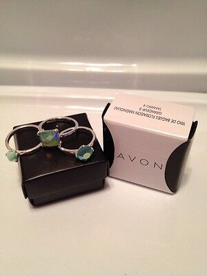 Avon Steele Magnolias Collection 3Piece Ring Set Silver Size 8 New In Box
