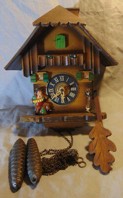 Vintage W. German Regula E. Schmeckenbecher Cuckoo Clock w/ Weights & Pen