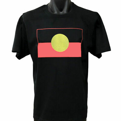 New Aboriginal Flag T-Shirt (Black) - S M L XL 2XL 3XL 4XL 5XL (Licensed)