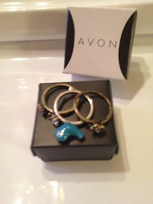 Avon Free As A Bird 3 Piece Ring Set Silvertone Goldtone Size 8 New In Box
