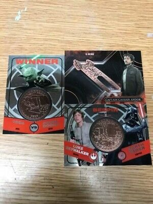 Star Wars Medallions (3) Yoda, Darth Vader, Luke Skywalker, Cassian Andor