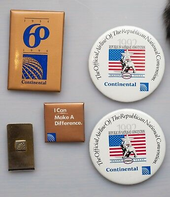 Continental Airlines collectible pins and money clip