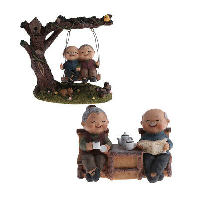 Swing ~ Old Couple Figurines Statue Home Ornament Garden Sculpture Gifts