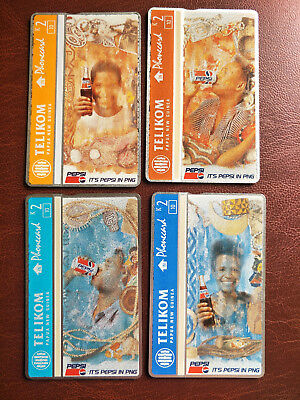 Mint 2 Kina Pepsi Set of 4 Papua New Guinea Phonecards