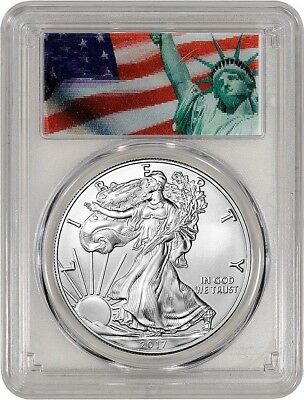 2017 $1 American Silver Eagle First Strike Pcgs Ms70  # 887